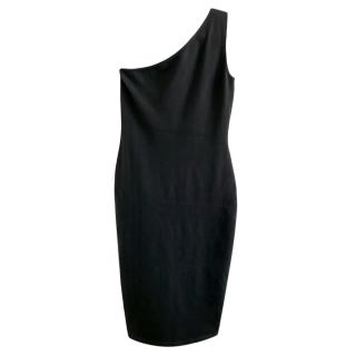 Ralph Lauren Cashmere Blend Black One Shoulder Dress