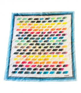 Chanel Rainbow Palette Print Cotton Scarf