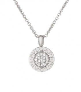 Bvlgari Pave Diamond Set Logo Pendant Necklace