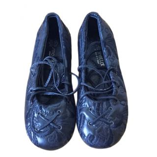Simonetta Blue Embroidered Lace-Up Ballerinas