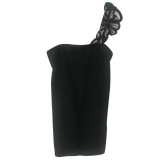 Victoria Beckham Lace Shoulder Black Top