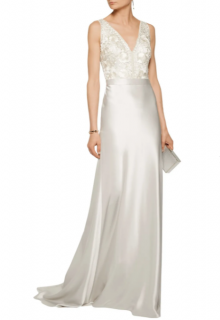 Catherine Deane Olivia Platinum Embroidered Satin Gown