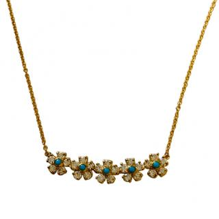 Jennifer Meyer Diamond & Turquoise Flower Necklace