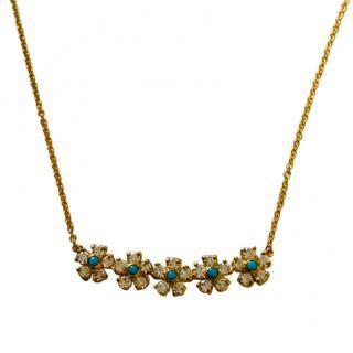Jennifer Meyer Diamond & Turquoise Flower Necklace