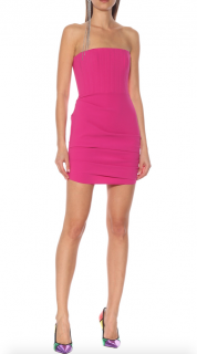 Alex Perry crepe strapless pink mini dress