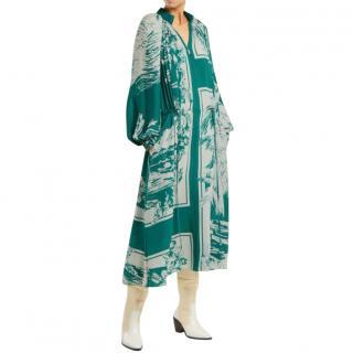 Tibi Leilani Green Printed Resort Collection Dress