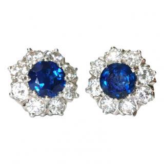 Bespoke Sapphire & Diamond cluster earrings