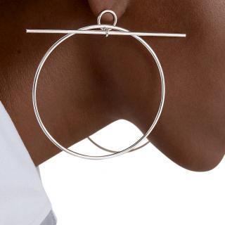 Hermes Sterling Silver Loop earrings - very large model