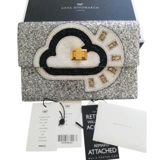Anya Hindmarch Silver Glitter Valarie Sunny Clutch