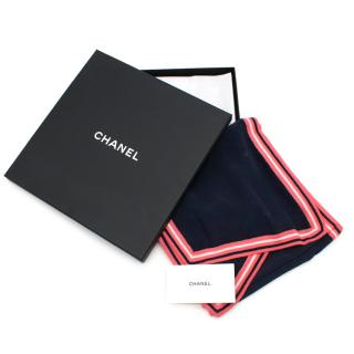 Chanel Silk & Wool Navy Scarf with Neon Trim