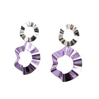Gaviria Double Silver & Lavender Ravioli earrings