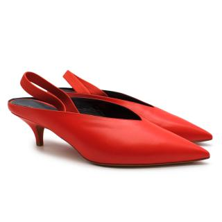 Celine Red Leather Slingback Pumps
