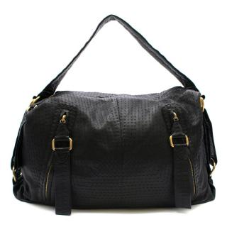 Loewe Overstich Detail Black Leather Weekend Bag