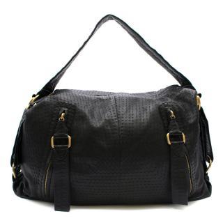 Loewe Overstich Detail Black Leather Weekend Bag