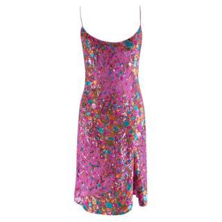 Julien Macdonald pink silk embellished slip dress