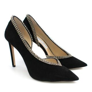 Jimmy Choo Lilian 100 embellished suede pumps