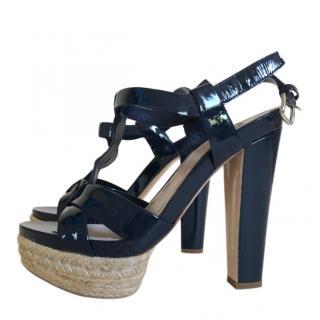 Miu Miu Blue Patent Espadrille Sandals