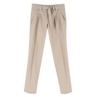 Prada Nude Cotton Straight Leg Trousers