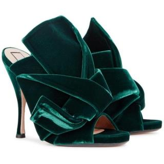 No.21 Emerald Green Velvet Bow Mules