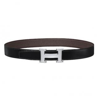 Hermes H belt buckle & Reversible leather strap in Noir/Chocolat