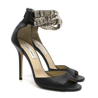 Jimmy Choo Black Leather Peep-Toe Pump with Crystal Strap