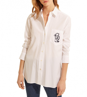 Gerard Darel Carla Cotton Logo Embroidered Shirt