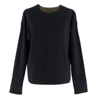 Me + Em black & olive reversible sweatshirt top
