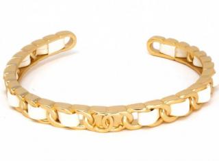 Chanel White Calfskin Open Chain Bracelet