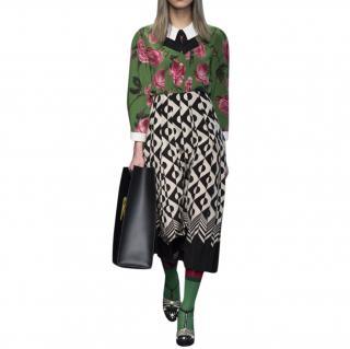 Gucci Black & White Geometric Print Pleated Midi Skirt