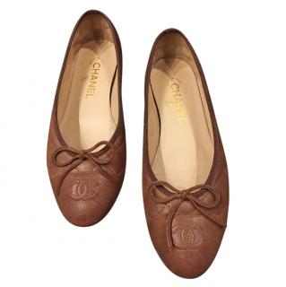 Chanel Brown Lambskin Ballerina Flats