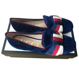 Gucci Navy Velvet Loafers with Sylvie Bow