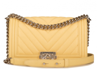 Chanel Yellow Lambskin Chevron Medium Boy Bag