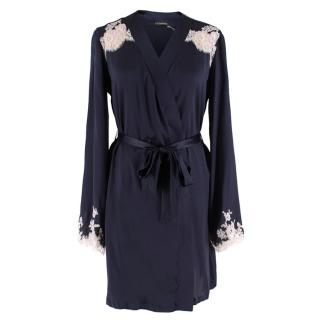 I.D Sarrieri Manhattan Morning Robe in Deep Marine/Rose