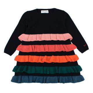 Sonia Rykiel Wool Dress with Mutlicolour Tiered Ruffles