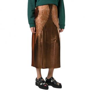 Stella McCartney Gianna Metallic Pleated Lace-trim Skirt