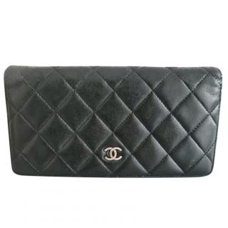 Chanel Black Quilted Leather Bi-Fold Wallet