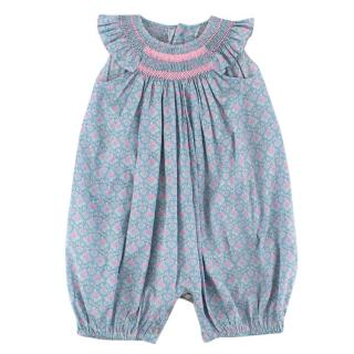 La Coqueta Childrens Blue Floral Smock Dress