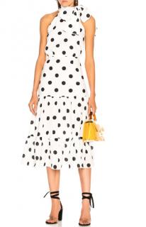 RIXO Eleanor Dress in White Maxi Polka Dot