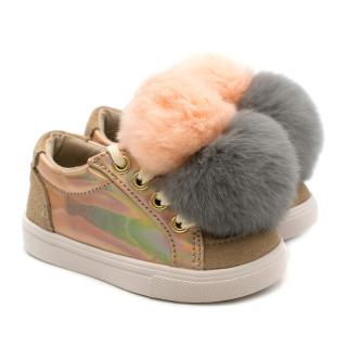 Bimbo Bimba Childrens Sneakers with Pom Poms