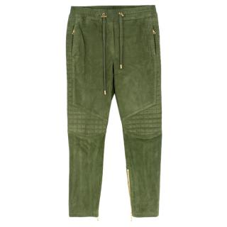 Balmain Quilted cropped suede track pants