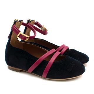 Malone Souliers Mini Smalls Suede Navy & Pink Ballet Flats