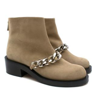 Givenchy Camel Chain Suede Leather Ankle Boot