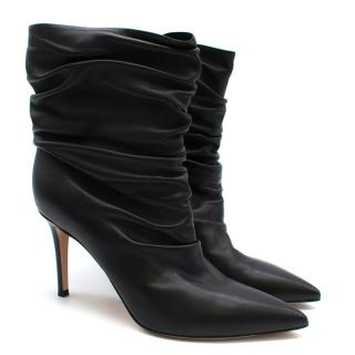 Gianvito Rossi Black Ruched Leather Ankle Boots