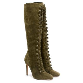 Gianvito Rossi Olive Green Suede Knee-High Boots