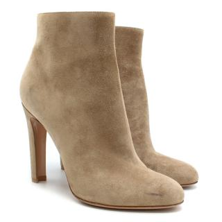 Gianvito Rossi Nude Suede Heeled Ankle Boots