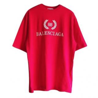 Balenciaga red & white oversize logo t-shirt