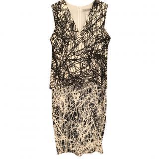 Sportmax Black & White Line Printed Dress