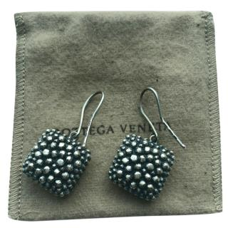Bottega Veneta Pepita antique silver finish earrings