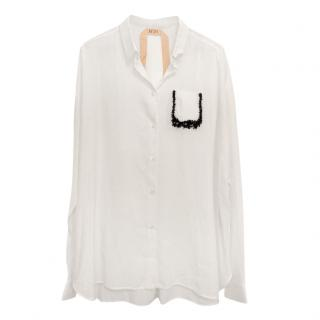 No 21 embellished pocket white silk blend summer shirt