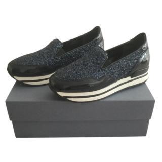 Hogan Blue Glitter Platform Slip-On Sneakers
